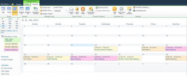 Using Calendar overlays in Sharepoint 2010