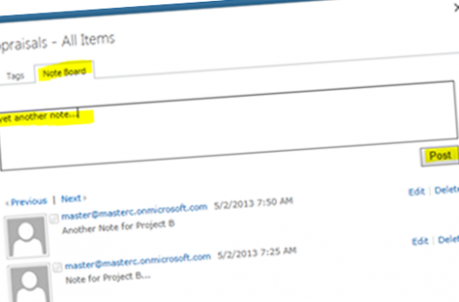 Adding notes to your favorite Sharepoint 2013 items